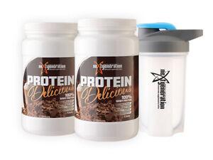 2 x 100% Whey Protein Delicious Protein Powder 1.25kg Chocolate Plus Free Shaker