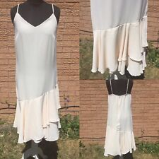 Cream Strappy Sundress Size Approx 12-14 Frill Shift Casual Smart