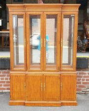 1990s Drexel Heritage Yorkshire Collection Yew Wood Dining Room China Cabinet