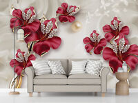 3D Beautiful Jewelry Flowers Bedroom Wall Murals Painting Wallpaper Photo Decor