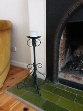 Black Large Iron Candleholders x 2