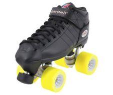 Riedell R3 Derby Rs Quad Roller Speed Skates w/ Yellow Radar Pop Wheels