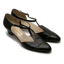 Salvatore Ferragamo Women's T-Strap Leather Black Shoes Made In Italy 8-1/2 AAAA