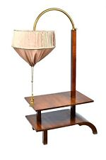 VERY RARE WALNUT ART DECO LARGE SIDE TABLE WITH BUILT IN HEIGHT ADJUSTABLE LIGHT
