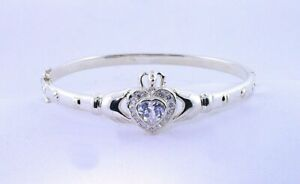 7 1/2 Inch Claddagh White Clear CZ Cubic Zircona Sterling Silver Bracelet ES1022