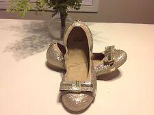 Stuart Weitzman Girls Fiona Glitter Bow Ballet Flats Gold US 13 Euro 31 UK 12.5