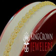 Mens Ladies 14K Yellow Gold Finish Flower Cluster Link Bracelet Simu Diamond 8''