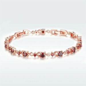 Fashion Woman Exquisite Red Round Zircon Rose Gold Bracelet Jewelry Gift
