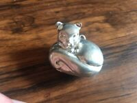 Vintage Max Factor Cat Silver Perfume Locket Pendant Necklace-1970's