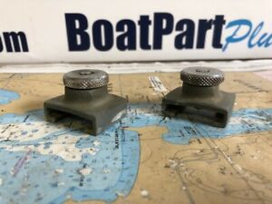 """Pair of Chrome on Bronze Pull Pin Stops for 1 1/4"""" Track"""