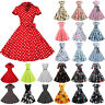 Womens 50s 60s Vintage Pinup Swing Evening Party Rockabilly Skater Retro Dress
