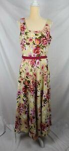 Adrianna Papell Women's Fit & Flare Floral Linen Sleeveless Maxi Dress sz 10