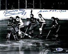 BECKETT-BAS BOBBY HULL GOAL #49 1962 AUTOGRAPHED-SIGNED BLACKHAWKS 8x10 PHOTO 72