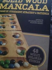Solid Wood Folding Mancala Game in Cardboard Sleeve Colored Stones BNIB