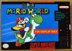 """SUPER MARIO WORLD in RARE """"For Display Only"""" Box - SNES - with Insert and Manual"""