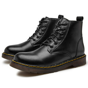 Mens Leather Ankle Boots Waterproof Walking Hiking Trail Boots Black Size 12 13