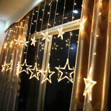 Christmas LED Stars Hanging Curtain Lights String Net Xmas Home Party Home Decor