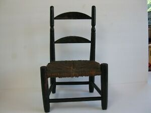 ANTIQUE Black American Painted Tole Stenciled  decorated doll/childs Chair 1870