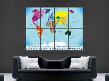 MAPPA del Mondo Mappa Poster Gigante Stampa Wall Art città paesi GEOGRAFIA