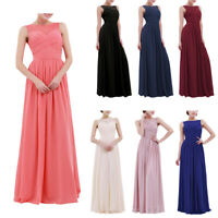 Womens Ladies Chiffon Lace Prom Party Evening Gown Wedding Bridesmaid Long Dress