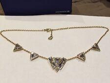 Swarovski Swan signed Arise Triangular crystal necklace