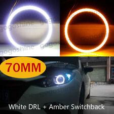 2x 70mm COB LED Angel Eyes Halo Ring Lamp Light w/ Turn Signal White Yellow