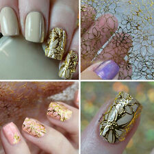 Pop Embossed Nail Art Stickers Gold Flower Manicure Decals Tips Decoration Fancy
