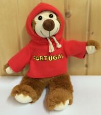 Plush Bear Portugal Red Embroidered Hoodie Soccer Kelly Toy