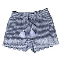 TILII girls sz 8 shorts blue & white stripe childrens clothes Geelong like new