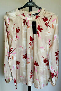 Ladies M&S Size 18 Natural Mix Silky Floral Long Sleeve Blouse Bnwt