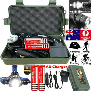 350000LM Zoomable LED Headlamp Rechargeable Headlight T6 Head Torch 18650 Lamp