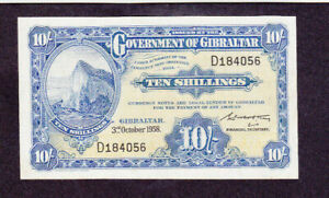 10 SHILLINGS FINE-VF BANKNOTE FROM GIBRALTAR 1958 PICK-17
