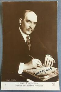 Henry Bourdeaux, French Author & Lawyer, SIGNED postcard