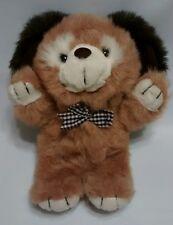 "1990 Begging Puppy Dog Plush Stuffed Animal Toy Brown BowTie Kmart Fairview 12"""