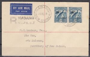 DB7899/ BRITISH NEW GUINEA – SG # 167 PAIR ON REGISTERED AIRMAIL COVER
