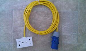 CAMPING CAMPSITE 5M ELECTRIC TENT POWER HOOK UP 16A -13A HI VIZ ARCTIC CABLE 2g