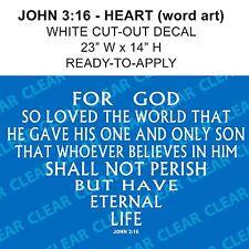John 3:16 JESUS BELIEVE Bible Wall Decal // car-home-garage // Ready-to-Apply