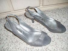 BANDOLINO *ARIANAF* Leather Slingback Snake Pattern Shoes~Gray~Size 8.5 M