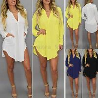 36-54 Damen Chiffon V-Neck Longshirt Lässig Langarm Hemd Tops Minikleid Oversize