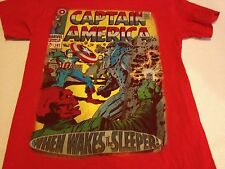 Pre-owned Captain America When Wakes The Sleeper Red Small T-shirt 101 Marvel S