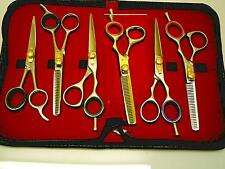 """set of 6 HAIR DRESSING SHEARS n THINNING SCISSORS PROFESSIONAL 5.5"""" LEATHER CASE"""