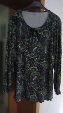 Happy Size~Tunika~Bluse~Shirt~schwarz/lila/grün~Gr. 44/46~wie neu