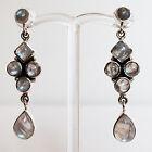 925 Sterling Silver Semi-Precious Natural Stone Drop Earrings - Moonstone