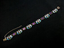 Dainty Antique Chinese Amethyst & Silver Enamel Bracelet
