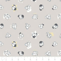 Disney 101 Dalmatians Puppy Dogs Faces Light Grey 100% Cotton fabric by the yard