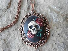 SKULL AND ROSES (DARK RED) HAND PAINTED CAMEO COPPER PENDANT NECKLACE - GOTH