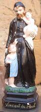 Saint Vincent de Paul Plâtre religieux polychrome ancien
