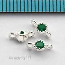 4x STERLING SILVER CZ CRYSTAL ROUND LINK CONNECTOR SPACER BEAD 3.5mm #2721
