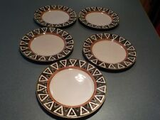 "SET of 5) VINTAGE PTS INTERNATIONAL INTERIORS PHOENIX STONEWARE 8"" PLATES"