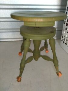 Antique Swivel Adjustable Piano Stool Green paint Brass Claw Feet